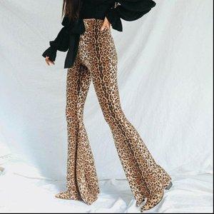 Fashion Women Capri Leopard Print Flared Long Pants High Waist Stretchy Bell Bottom Wide Leg Basic Pantalones