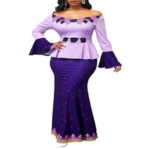 Kadınlar için Afrika Elbiseler Dashiki Off-omuz Mermaid Baskı Bodycon Uzun Elbise Artı Boyutu Yaz Vintage Giysileri Rahat