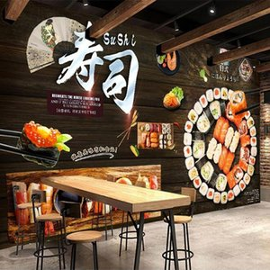 Custom 3D Wallpaper Wall Painting Retro Wood Board Sushi Poster Decoration Mural Restaurant Kitchen Dining Room Po Paper Wallpapers