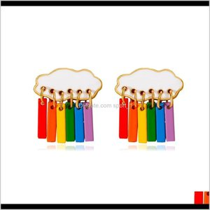 & Chandelier Delivery 2021 Sweet Rainbow Earrings Colorful Cloud Raindrop Ear Drop Dangle Earring For Women Girls Fashion Jewelry Hfiex