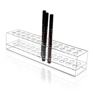 Clear Plastic Eyebrow Pencil Pen Holder Eyeliner Makup Brush Storage Acrylic Display Stand Shelf Boxes & Bins