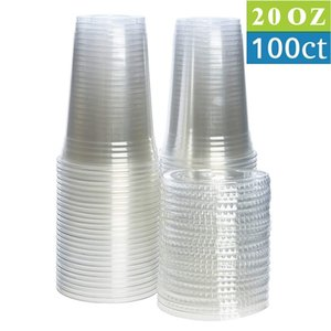 100 Pack (20 oz) BPA Free Clear Plastic Cups with Flat Slotted Lids for Cold Drinks Coffee Tea Smoothie Bubble Boba, Disposable A0629