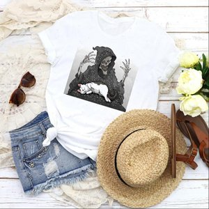Women Graphic Womens Tops Lazy Cat Horror Halloween Summer Autumn Cartoon Print Female T Shirt Tees Clothing