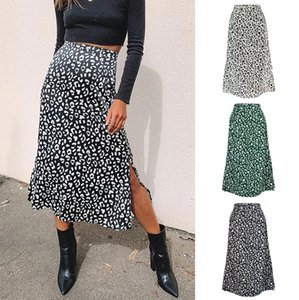 Skirts Leopard Print Summer Long Womens Casual A-line Holiday Beach Skirt High Waist Split Zipper Female 2021 J3