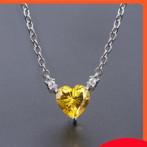 Temperament clavicle chain jewelry color treasure popular high carbon simulation yellow diamond * 9 heart-shaped pendant necklace