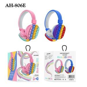 AH-806E Headphones New Cute Rainbow earphones Bluetooth Stereo Headset Ultra-long Standby for Children