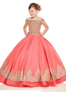 Coral Ball Gowns Princess Little Girls Pageant Dresses Gold Embroidery Beads Cold Shoulder Flower Girl Dress For Wedding Party Birthday Gown