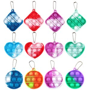 Pop Fidget Toys Stress Reliever Sensory Toy Heart Round Square Shape Gradient Dimple Silicone Squeeze Key Chain Adults Children LLA638