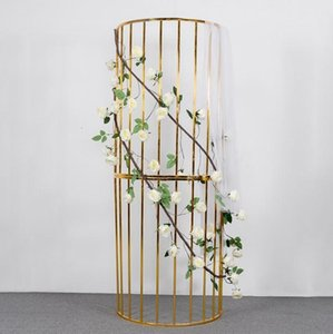200cm Tall Iron gold glossy Semicircle Arch Pillar Plinth Flower Vine Stand Balloon Rack For Wedding Stage Baby Shower Backdrops