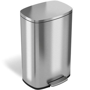 Waste Bins 30L 50L Stainless Steel Step Trash Can , Pedal Garbage Bin For Kitchen, Office, Home - Silent And Gentle Open Close
