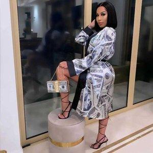 Hirigin Esthetic Vest Long Mouwen Midi Bandage Dress Money Pyjamas Recreation Clothing for Women 2021 Fashion Sexy Lounge Wear