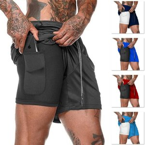 Gym Clothing European Men's Sports Summer Double Layer Mobile Phone Pants Exercise Jogging Training Shorts