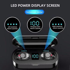 TWS Earphone Bluetooth Wireless V5.0 F9 TWS sports Headphone LED Display With 2000mAh Power Bank Headset Microphon