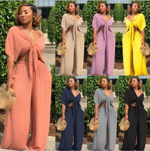Womens Two Piece Tracksuits Women Outfits Bow Tie Tops Wide Leg Pants Suits Casual Clothes solid Plus Size Sexy