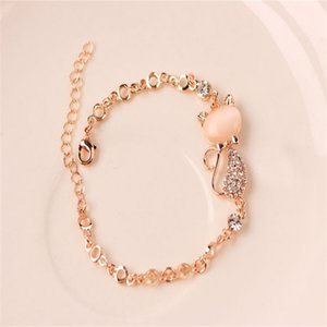 Rose Gold Alloy Lovely Cat Bracelets for Women Femme Children Girl Gift Jewelry Charms Crystal Opals Rhinestone Bangle Chain 1198 Q2