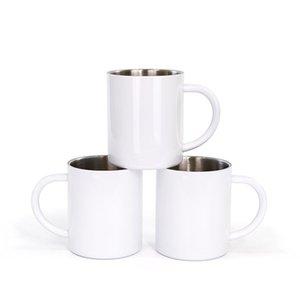 10 أوقية التسامي فارغة مقبض الكؤوس نقل الحرارة البياض الأوكس اليدين الفولاذ المقاوم للصدأ زجاجات المياه مكتب الرئيسية القهوة tumblers التسامي drinkware a12