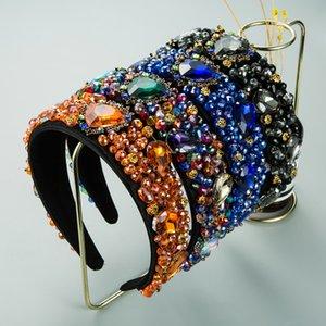 Черный синий оранжевый красочные хрустальные волосы сердца повязки сердца горный хрусталь аксессуары для волос для женщин роскошный головной убор горный хрусталь