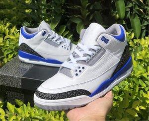 أعلى جودة 3 متسابق الأزرق الرجال أحذية كرة السلة 3S أبيض أسود الأسمنت رمادي متسابق في الهواء الطلق أحذية رياضية الولايات المتحدة 7-12 مع المربع الأصلي CT8532-145