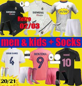 Erkekler Çocuklar 20 21 22 Gerçek Madrid Futbol Jersey Benzema 2021 2022 Tehlike Asensio Sergio Ramos Modric Kitleri Retro 02 03 Zidane Futbol Gömlek Seti Üniforma