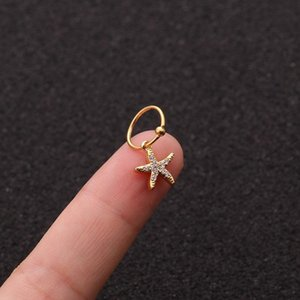 Hoop & Huggie 1 PCS Simple Small Micro Pave CZ Starfish Shape Charm Ear Cuff Earring Women Classic 8mm Closed Circle Piercing Jewelry