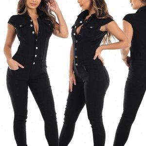 Black Denim Womens Jumpsuit Women Clothes Skinny Casual Overalls For Fomen Botton Bodycon Short Sleeve Tight Bodysuit