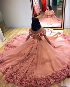 2020 Pink Ball Gown Evening Dresses Tulle Bateau Prom Dress Sweep Train 3D Applique Special Occasion Dresses