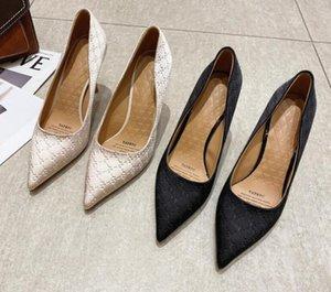 French French Fashion Soft Cose Celebrity Dress Shoes Tacones altos Tacones Mujeres Negro Profesional Punta de trabajo Sola zapato en 2021 Primavera y otoño