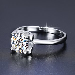 New S925 pure silver diamond ring with one and six claws