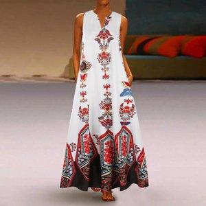 Women Plus Size Dress 2021 Summer Print Daily Casual Sleeveless Vintage Bohemian V Neck Beach Loose Maxi Long Femme @40 Dresses
