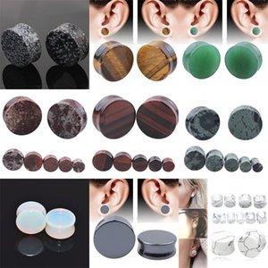 Alisouy 2PCS Lot Stone Ear Plugs Gauges Earrings Ear Plug Flesh Tunnel Piercing Expander Ear Stretcher Body Piercing Jewelry 1721 Q2