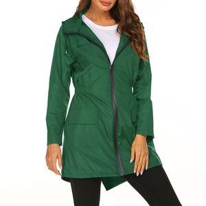 Women's Trench Coats Autumn And Winter Hooded Waist Raincoat Zipper Jacket Coat Women Outwear Windbreaker
