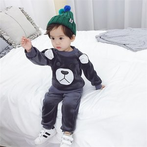 2018 Automne et hiver Vêtements pour enfants Vêtements coréens Gold Velvet costume Bear de dessin animé à manches longues pour enfants Two-Piece 943 V2