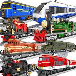 Ausini Şehir Tren Modeli Yapı Taşları Vagon Kargo Taşıma Yolcu Tren İstasyonu Raylı Tracks Lokomotif Yapı Oyuncaklar X0503