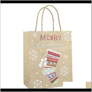 Wrap Stobag 12Pcs Kraft Paper Christmas Candy Package Tote Bags For Event Party Handmade Gift Cake Decorating Supplies Wmtcxb P68Zh F128E