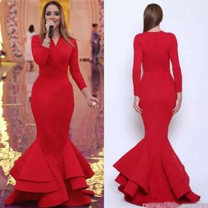2019 Modest Mermaid Prom Dresses V Neck Long Sleeves Tiered Ruffles Evening Dresses Formal Party Gowns Customized Pageant Dress