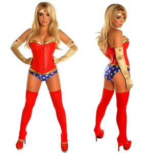 Sexy Superhero Power Woman Costume Corset Short Uniform Halloween Hen Party Cosplay Fancy Dress Adult women
