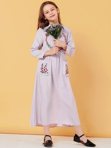 Детские длинные платья для мусульманской девушки Дубай Абая Турецкое кафтановое вышивка платье кафтан исламская одежда Vestidos Largos Robe Femme
