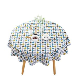 Table Cloth 150CM Cotton Round Tablecloth Colored Triangle Cover Mat Decoration