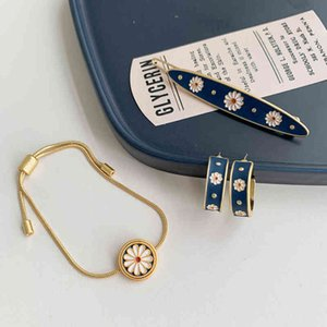 Aomu New Trendy Vintage Korea Flower Earrings Hairpins Elegant Flowers Summer Bracelet for Women Jewerly