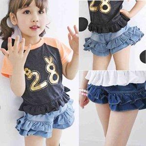 Baby Girls Skirt Summer New Fashion Kids Girl Clothes Denim Shorts Skirt Children Clothing Lovely Ruffle Jean for 3-8 Years 210326