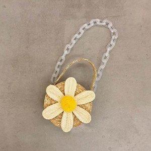 Girls Handbags Bags Grass Braid Flower Kids Purse Beach Children Handbag Fashion Cute Baby Accessories B4644