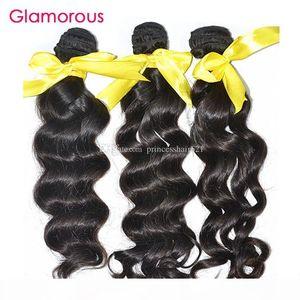 Glamorous Virgin Human Hair 4pcs per lot Full Cuticle Aligned Brazilian Peruvian Indian Malaysian Wavy Bundles with 360 frontal with cap