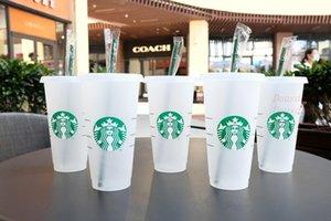 Mermaid Goddess Starbucks 24oz 710ml Plastic Mugs Tumbler Reusable Clear Drinking Flat Bottom Pillar Shape Lid Straw Cups 50pcs mug 1