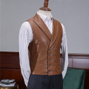 Double Retro Mens Breasted Pu Leather Vest Slim Fit Waistcoat Casual Sleeveless Jacket Vintage Gilet Homme Streetwear Tops Vests Men's