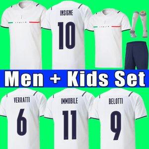 Italy Camisa de futebol Itália 2021 Maca Sensi Insigne 20 21 22 Taça da Europa Renascença Chiellini Bernardeschi Homens Camisas de Futebol + Kit Uniforme
