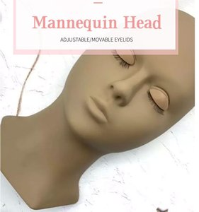Eyelash Extension Practise Tools Training Head Multi Color Mannequin Heads with Replaceable Eyelids