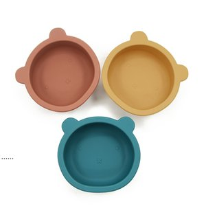 Silicone Bowl Baby Feeding Tableware Bear Shape Plate with Non Slip Sucker Infant Baby Bowl Feeding Dishes HHA4990