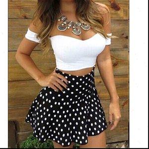 Two Women Tracksuits Piece Set Summer Dress Off Shoulder Short Sleeve Crop Tops Polka Dot Pleated Skirt 2pcs
