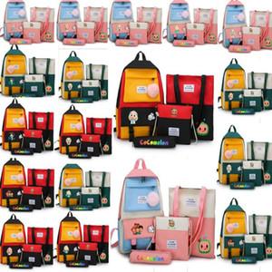 Tasarımcılar Cocomelon JJ Karikatür Schoolbag Set Tuval Omuz Çantası Sırt Çantası + Çanta Fanny Paketi Crossbody Çanta + Kalem Kutusu + Çanta Öğle Yemeği Tote G33D4P2