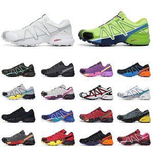 Salomon Speed Cross 4 CS 정통 야외 운동화 남성 여성 운동화   클래식 올 블랙 화이트 그린 핑크 블루  남성 여성 트레이너 크기 36-47   신발